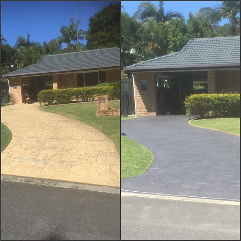Driveway Stamped Concrete Clean And Applied Coloured Sealer